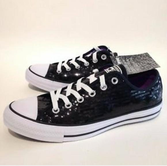 Converse Shoes   Unisex Sequins Black
